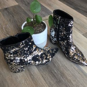 Marc Fisher LTD Jarli Booties - Pewter Sequined